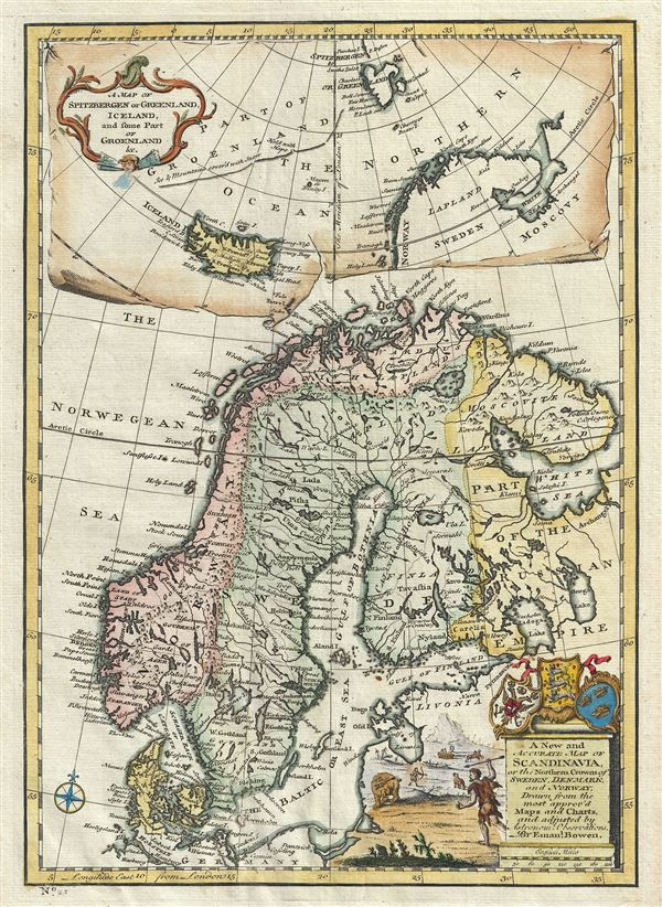 A New and Accurate Map of Scandinavia or the Northern Crowns of Sweden, Denmark and Norway.  A Map of Spitzbergen or Greenland, Iceland and some part of Groenland etc. - Main View