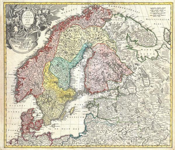 Scandinavia complectens Sueciae Daniae & Norvegiae Regna ex Tabulis Joh. Bapt Homanni Norimbergae.