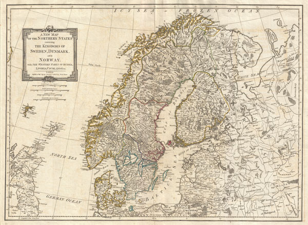 A New Map of the Northern States containing The Kingdoms of Sweden, Denmark and Norway, with The Western Parts of  Russia, Livonia, Courland and Ca.