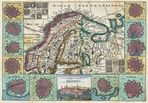 Royaume de Suede. / Kaart van Sweden.