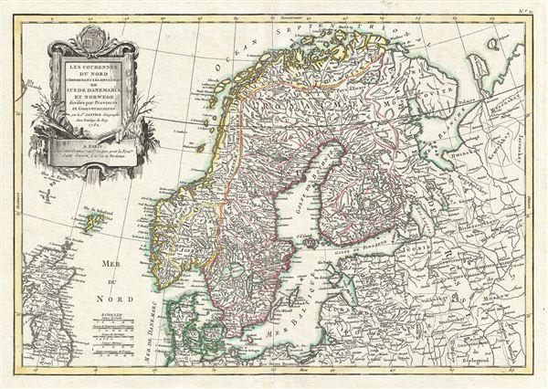 Les Couronnes du Nord Comprenant Les Royaumes de Suede Danemarck et Norwege divisees par Provinces et Gouvernements.