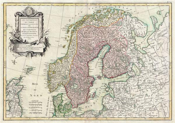 Les Couronnes du Nord Comprenant les Royaumes de Suede Danemarck et Norwege divises par Provinces et Gouvernemens.