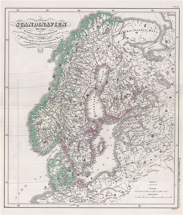 Scandinavien bis zum Frieden von Friedrichshamm 1809. Mit Angabe der, bis zur neuesten Zeit merkwuerdig gewordenen Orte.