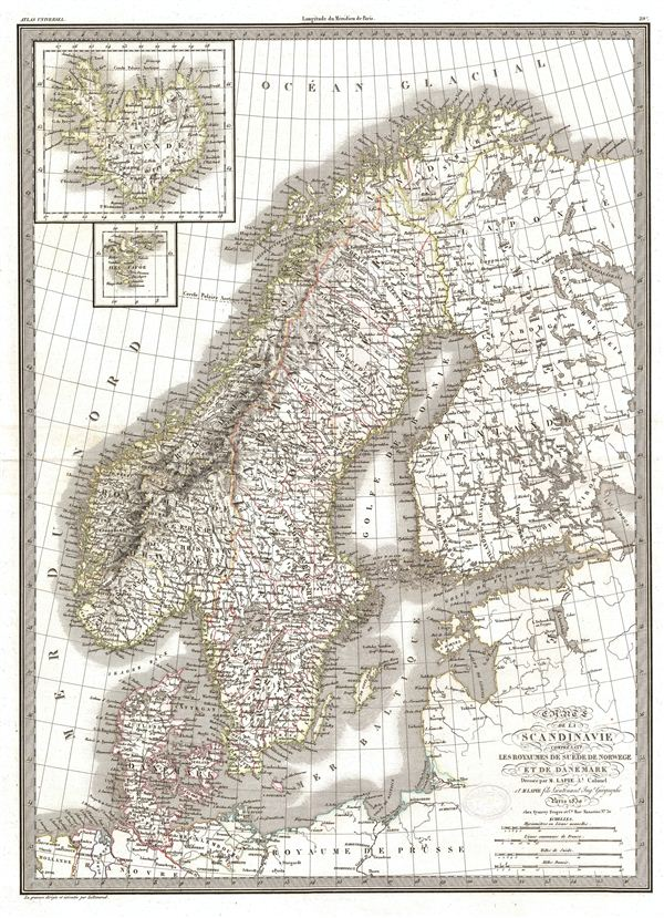 Carte de la Scandinavie comprenant Les Royaumes de Suede de Norwege et de Danemark.