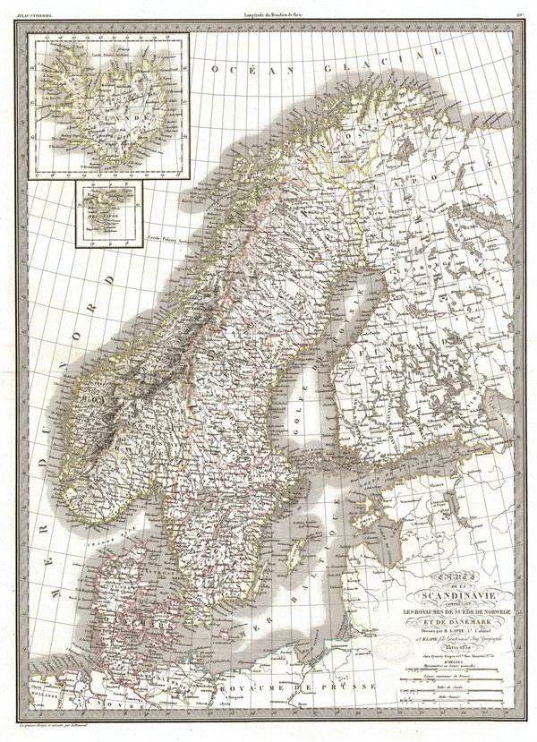 Carte de la Scandinavie comprenant Les Royaumes de Suede de Norwege et de Danemark. - Main View
