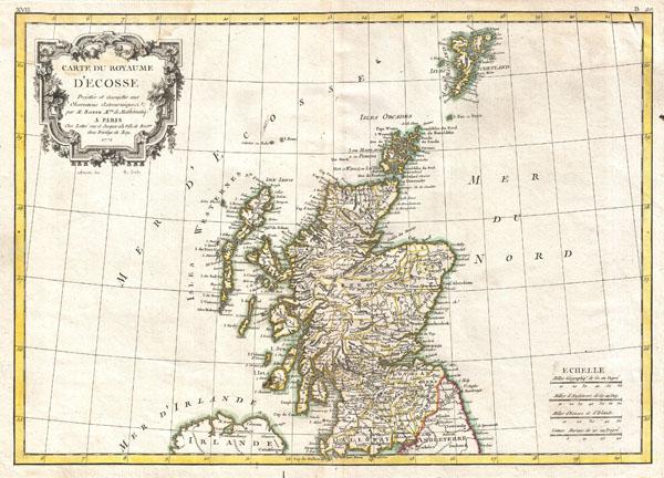 Carte du Royaume D'Ecosse.