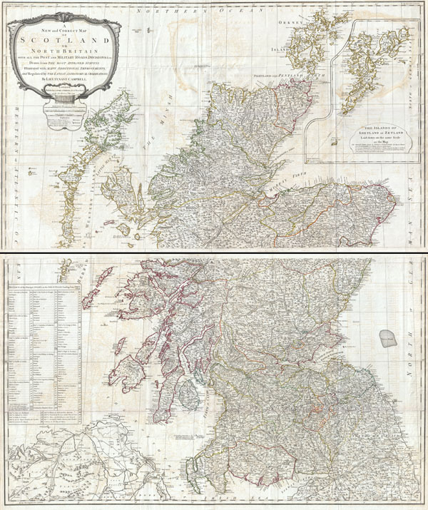 A New and Correct Map of Scotland or North Britain with all the Post and Military Roads, Divisions, and ca.