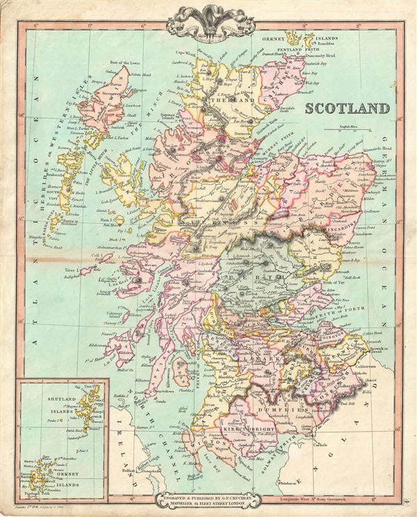 1850 cruchley map of scotland