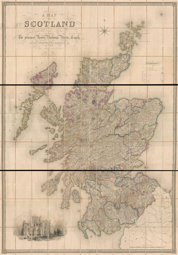 A Map of Scotland Divided Into Counties Shewing The Principal Roads, Railways, Rivers, Canals, Lochs, Mountains, Islands, etc. On A Scale Of Five Miles To An Inch.