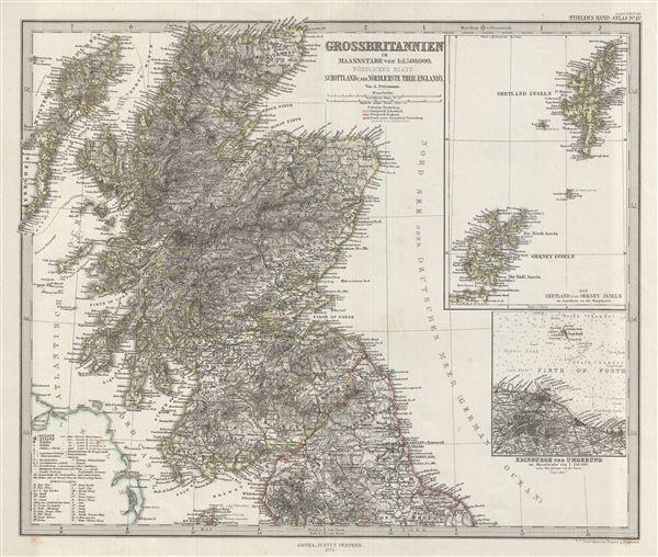 Grossbritannien Im Maassstabe Von 1:1.500.000. Nordliches Blatt: Schottland U. Der Nordlichste Theil England's.