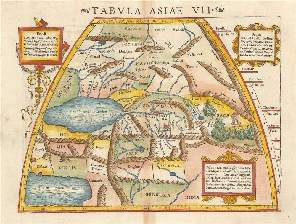 1552 Ptolemaic Map of Central Asia: Kazakhstan, Tajikistan, and Uzbekistan