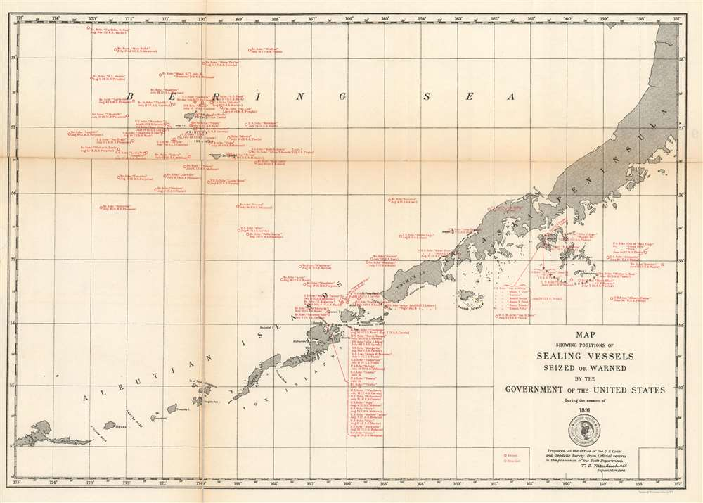 Map Showing Positions of Sealing Vessels Seized or Warned by the Government of the United States during the season of 1891. - Main View