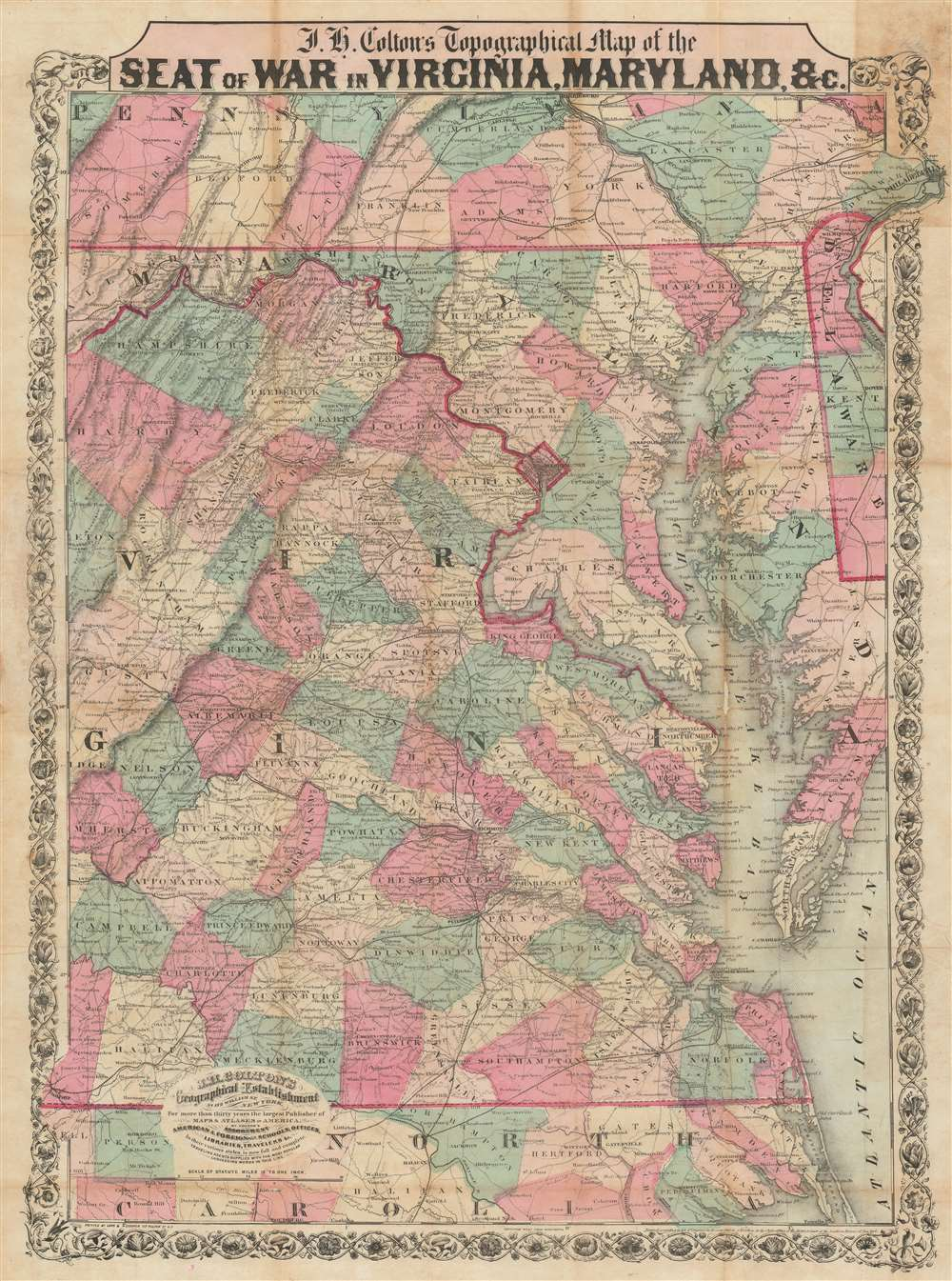 J.H. Colton's Topographical Map of the Seat of War in Virginia, Maryland, etc. - Main View