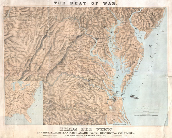 Seat of War.  Bird's Eye View of Virginia, Maryland, Delaware and the District of Columbia.