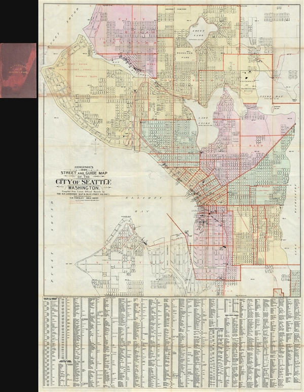 Anderson S 1896 Street And Guide Map Of The City Of Seattle