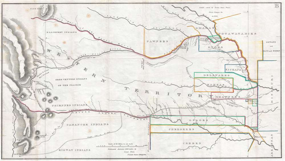 [Map of the 1835 Route of March of The Dragoons under the Command of Col. Henry Dodge from Fort Leavenworth to the Rocky Mountains and Back.]