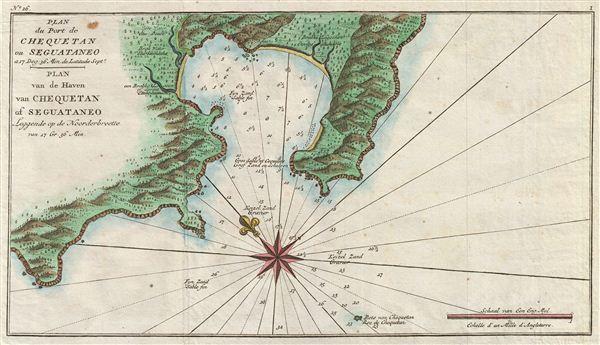 Plan du Port de Chequetan ou Seguataneo a 17 Deg: 36 Min de Latitude Septe. / Plan van de Haven van Chequetan of Seguataneo Leggende op de Noorderbreette van 17 Gr. 36 Min.