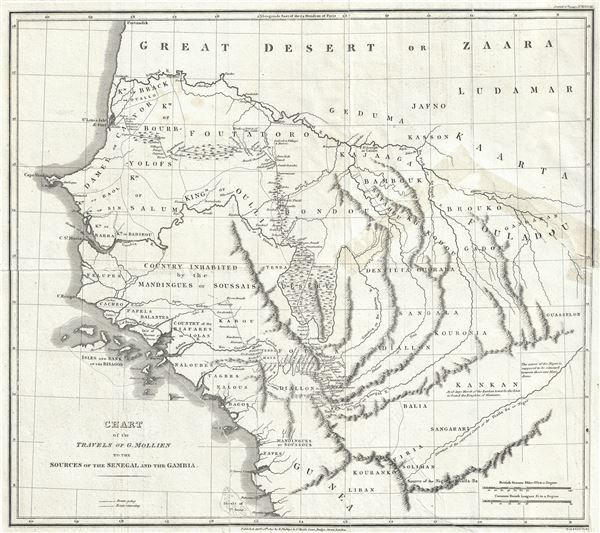 Chart of the Travels of G. Mollien to the Sources of the Senegal and the Gambia.