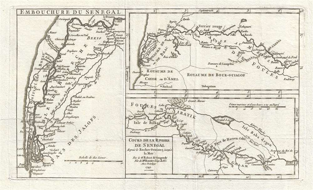 Cours de la Riviere de Senegal depuis le Rocher Gouinea jusqu'a la Mer. Par le Sr. Robert de Vaugondy Fils de Mr. Robert Géog. du Roi.