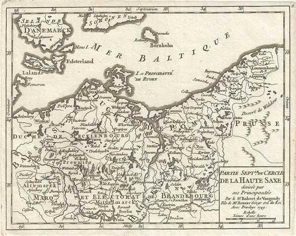 1749 Vaugondy Map of Northern Upper Saxony, Germany