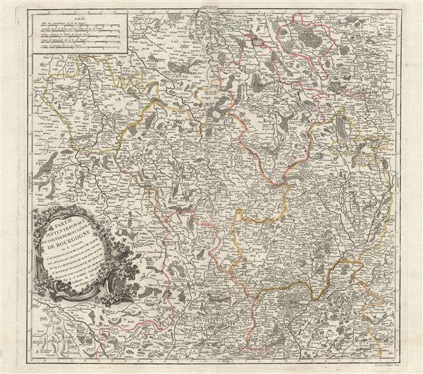 Partie Septentrionale du Gouvernement General de Bourgogne ou se trouvent l'Auxerrois, les Bailliages de Semur en Auxois, de Chatillon-sur-Seyne, ou de la Montagne, de Bar-sur-Seyne, d'Autun, de Dijon, partie de Celui de Challon-sur-Saone et du Charolois.