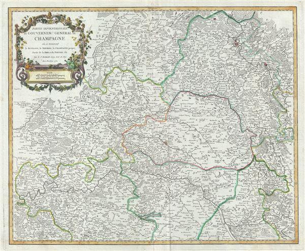 Partie Septentrionale du Governem? General de Champagne ou se trouvent le Retelois, le Rhemois, la Champagne propre, Partie de la Brie et du Pertois, etc.