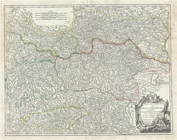Partie septentrionale du Cercle d'Autriche, qui comprend l'Archiduche d'Autriche, divise en ses huit quartiers; et la haute partie du Duche de Stirie.