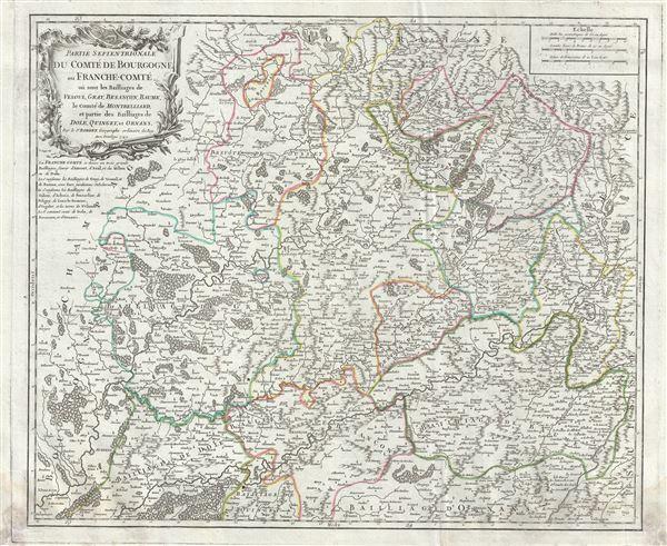 Partie Septentrionale du Comte de Bourgogne ou Franche-Comte, ou sont les Bailliages de Vesoul, Gray, Besancon, Baume, le Comte de Montbelliard, et partie des Bailliages de Dole, Quingey, et Ornans.