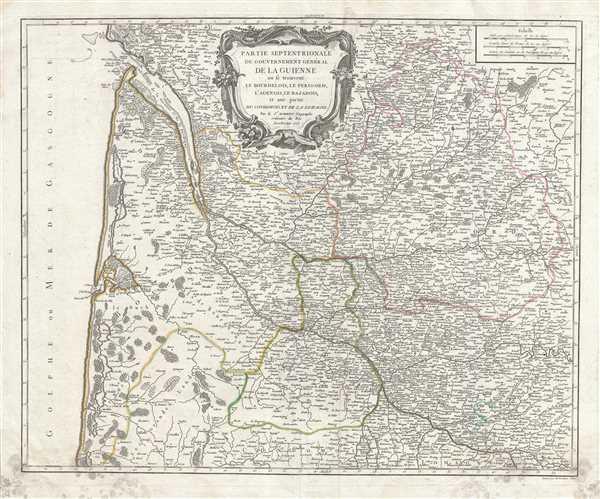 Partie Septentrionale du Gouvernement General de la Guienne ou se trouvent le Bourdelois, Le Perigord, l'Agenois, le Bazadois, et une partie du Condomois et de la Lomagne.