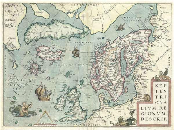 1572 Ortelius Map of the Arctic (Scandinavia, Iceland, Greenland)