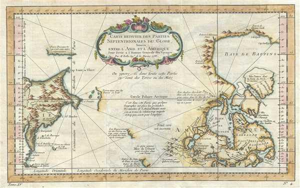 Carte Reduite des Parties Septentrionales du Globe, Situees, Entre l'Ansie et l'Amerique.