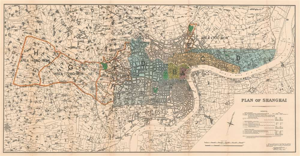 1928 Kelly and Walsh Map of Shanghai w/ development of Concessions