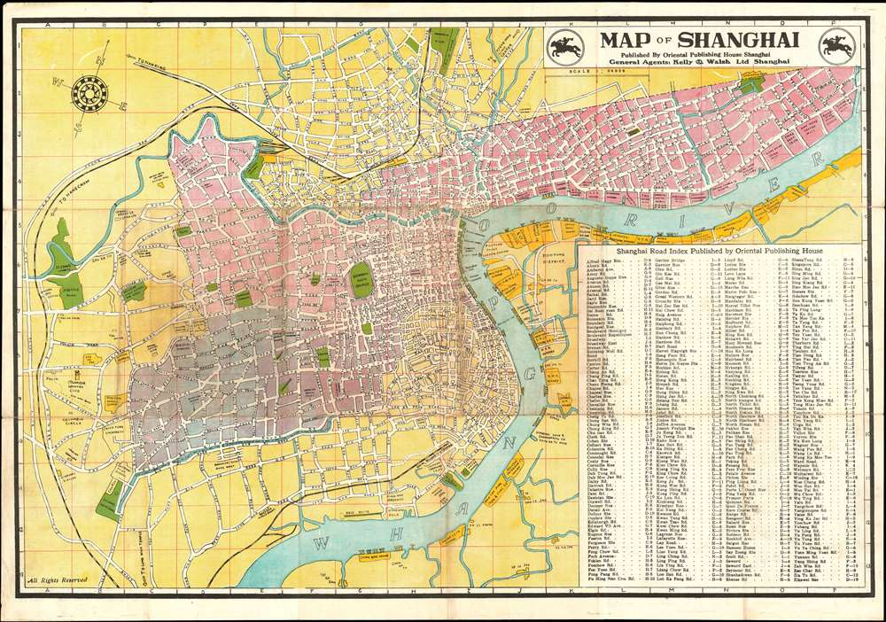 1946 Kelly and Walsh Map of Shanghai, China