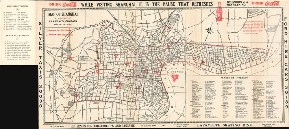 Map of Shanghai. Compliments of Navy Y.M.C.A. Shanghai, China.