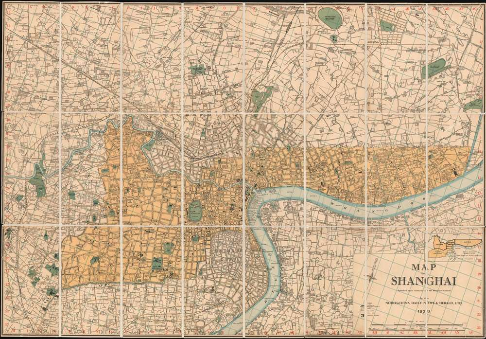 1933 North-China Daily News Map of Shanghai, China