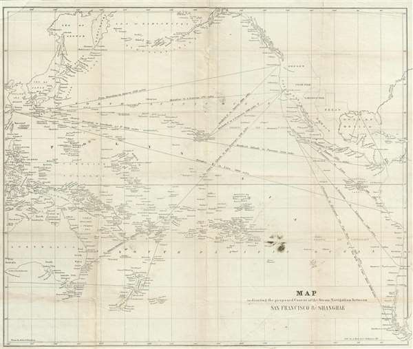 Map indicating the proposed Course of the Steam Navigation between San Francisco and Shanghae.