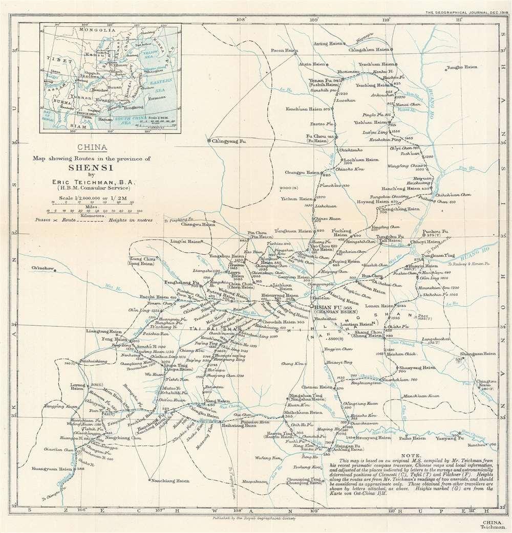 1918 Teichman Map of Shaanxi (Shansi), China
