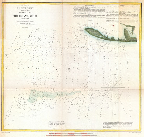 (Sketch H No. 6) Preliminary Chart of Ship Island Shoal Louisiana.