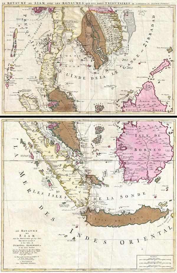 Le Royaume de Siam avec Les Royaumes Qui Luy sont Tributaries & c. / La Royaume de Siam avec les royaumes qui luy sont Tributaires, et les Isles de Sumatra, Andemaon, etc.  Et les Isles Voisine Aven les Observations des Six Peres Jesuites Envojez par le Roy en Qualite de Ses Mathe : maticiens dans les Indes, et a laChine ou est aussi Tracee.  La Route Qu'ils ont teniie par le Destroit de la Sonde Jusqu a Siam.