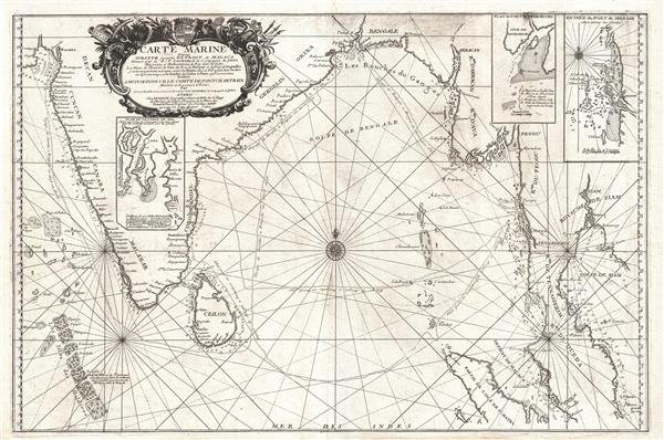 Carte Marine depuis Suratte jusqu'au Detroit de Malaca Dressee par le R.P. Tachard de la Compagnie de Jesus Missionaire et Mathematicien du Roy dans les Indes.