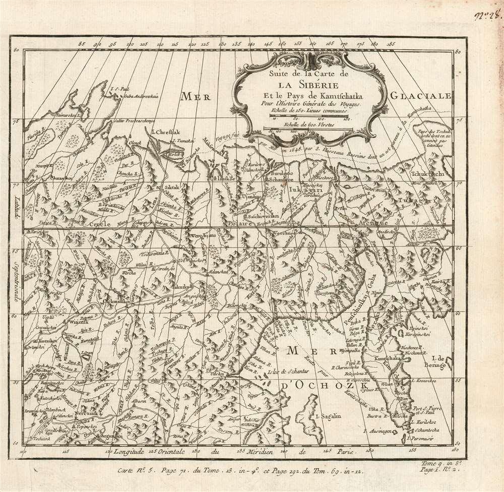 Suite de la Carte de La Siberie Et le Pays de Kamtschatka Pour l'Histoire Générale des Voyages. - Main View