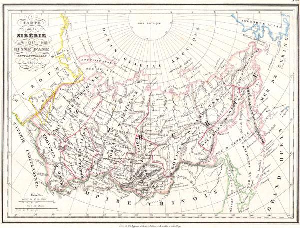 Carte de la Siberie ou Russie d�Asie Septentrionale. 1836..