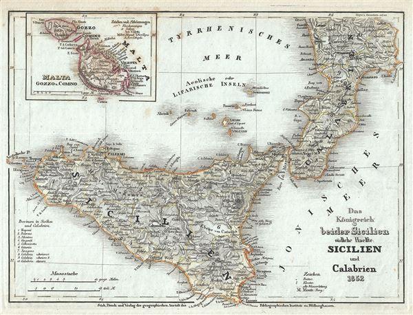 Das Konigreich beider Sicilien sudliche Haelfte: Sicilien und Calabrien