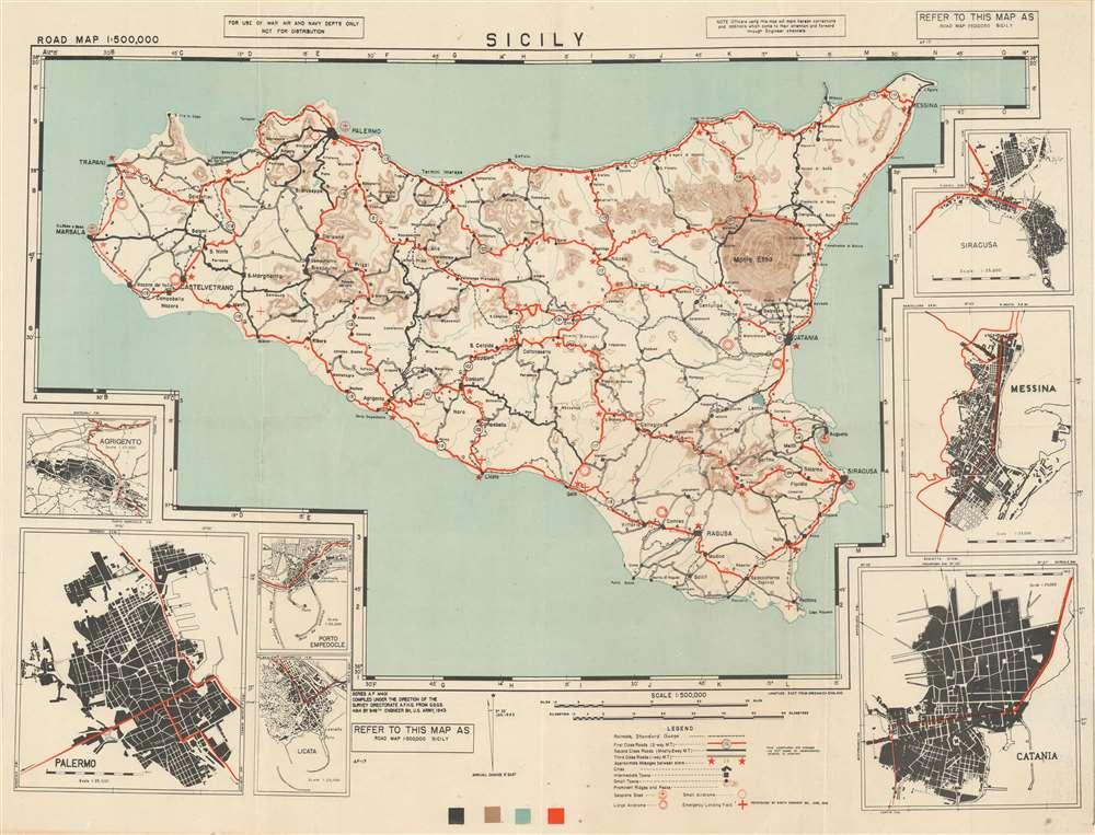 Road Map 1 : 500000 Sicily. - Main View