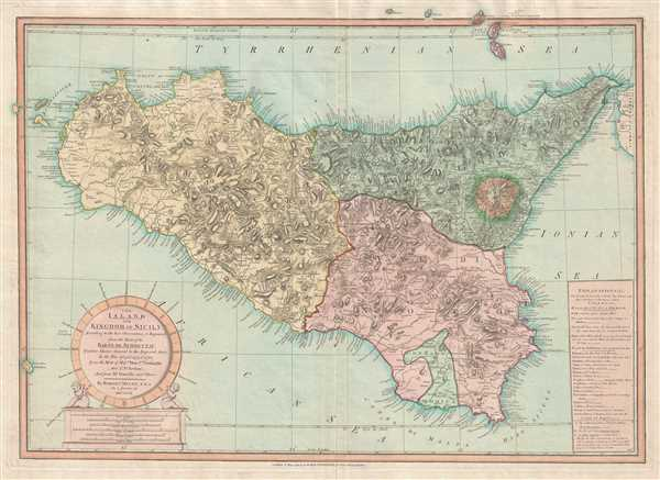 The Island and Kingdom of Sicily, According to the best Observations, and Improved; from the Map of the Baron de Schmettau, Quarter Master General to the Imperial Army, in the War of 1718, 1719, and 1720; from the Map of Messrs. Don Co. Ventimiglio, and Ao. D'Aedone; And from Mr. Danville, and Others.