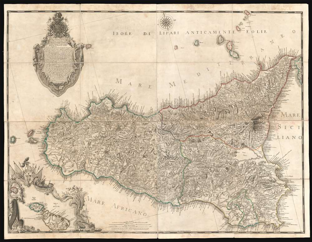 1779 Orcel / Schmettau Folding Wall Map of Sicily, Italy