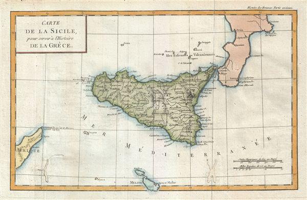 Carte de la Sicile, pour servir a l'Histoire de la Grece.