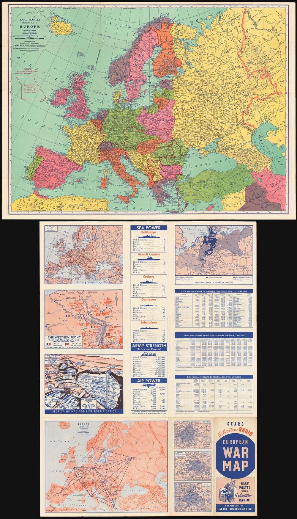 Rand McNally standard map of Europe./ Sears Silvertone radio European War Map. - Main View