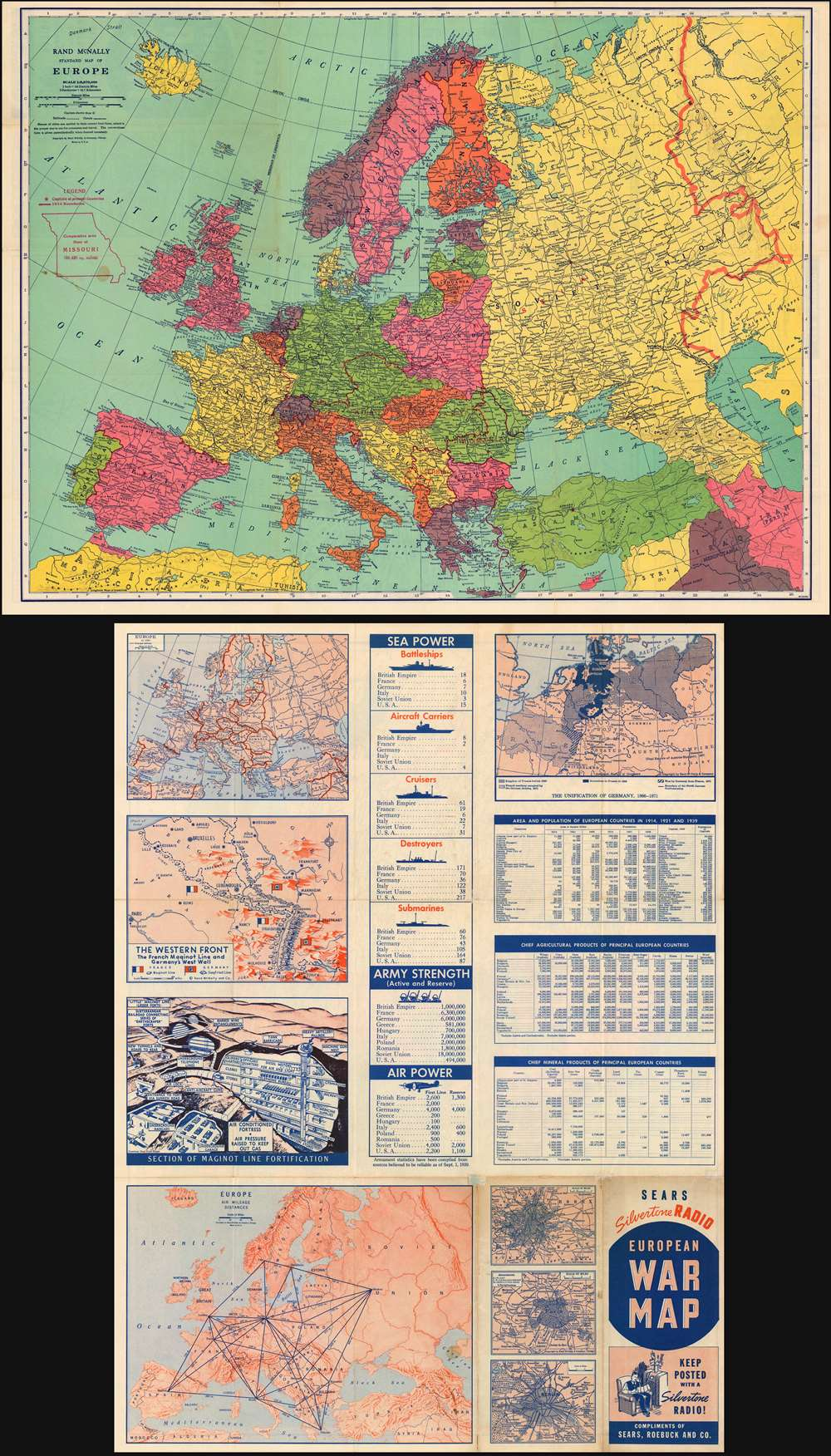 Rand McNally standard map of Europe./ Sears Silvertone radio ...