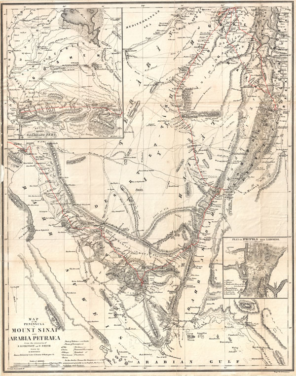 Map of the Peninsula of Mount Sinai and Arabia Petraea from the itineraries of E. Robinson and E. Smith.